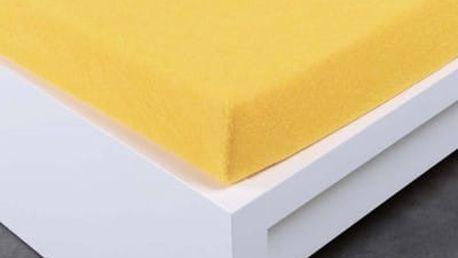 XPOSE ® Froté prostěradlo Exclusive dvoulůžko - žlutá 160x200 cm