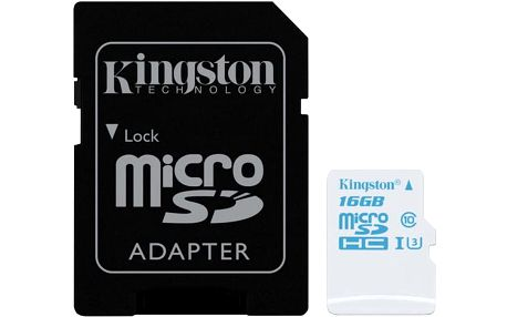 Kingston Action Card Micro SDHC 16GB Class 10 UHS-I U3 + SD adaptér - SDCAC/16GB
