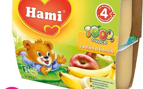 6x HAMI 100 % ovoce jablko a banán (4 x 100 g) - ovocný příkrm