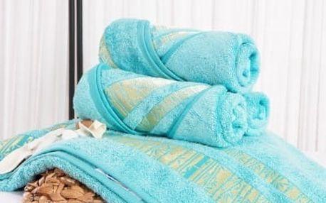 XPOSE ® Bambusový ručník MINA - azurová 50x90 cm