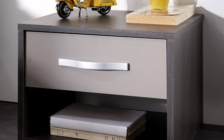Noční stolek GRAPHIC tmavý dub/šedá