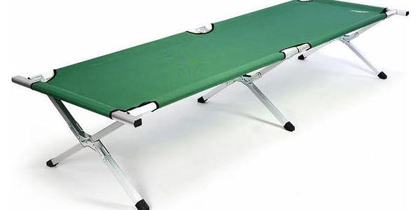 Přenosná hliníková skládací postel DIVERO 210 x 64 x 42 cm - zelená