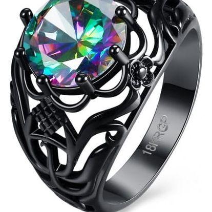 Prsten s květinovým motivem a barevným kamenem