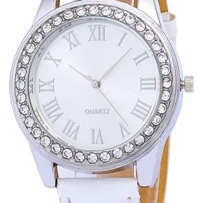 Elegantní dámské hodinky s kamínky v bílé barvě - dodání do 2 dnů