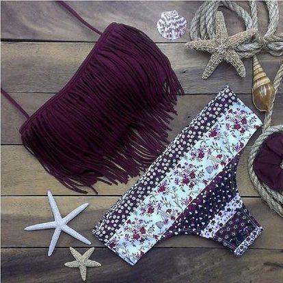 Krásné dámské střapcové plavky ve fialové barvě - velikost 2 - 6