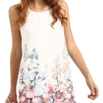 Dámské šaty s květy bez rukávů
