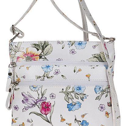 Bílá kožená kabelka s květinovým potiskem Pitti Bags Agnese - doprava zdarma!