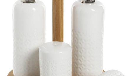 Set 2 lahví na olej, slánky, pepřenky a podnosu Bambum Champion