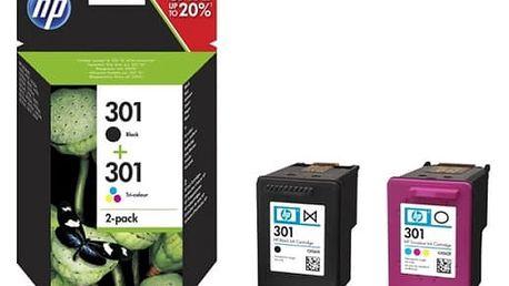 Inkoustová náplň HP 301 - multipack(černá, 3-barevná) (N9J72AE)