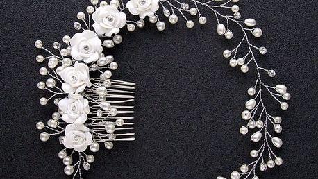 Čelenka do vlasů - bílé růže a perly
