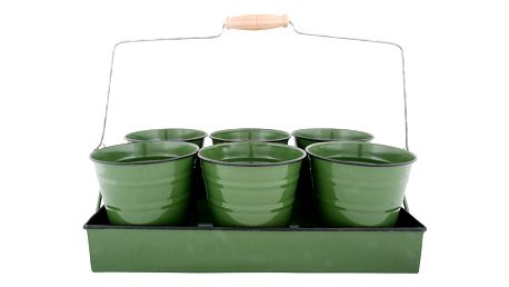 Zelený podnos se 6 květináči Esschert Design Garden