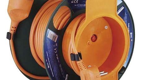 Kabel prodlužovací na bubnu EMOS 1x zásuvka, 25m (1908012501) oranžový