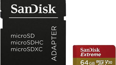 SanDisk Micro SDXC Extreme pro akční kamery 64GB UHS-I V30 + SD adaptér - SDSQXVF-064G-GN6AA