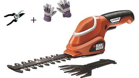 Nůžky na trávu Black-Decker GSL700 KIT, Aku + rukavice a nůžky + Doprava zdarma