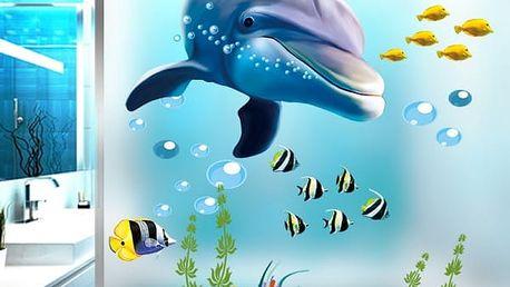Samolepka na zeď - podmořský svět s delfínem - dodání do 2 dnů