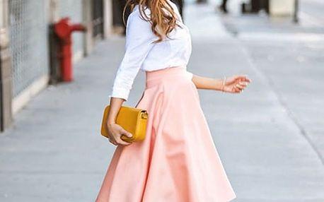 Pastelově růžová sukně do pasu