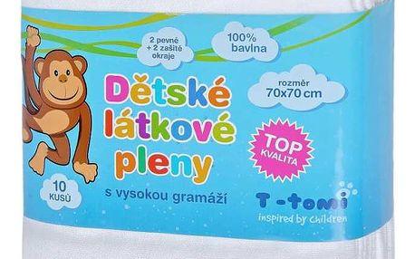 T-tomi Dětské látkové pleny TOP kvalita, sada 10 kusů, bílá