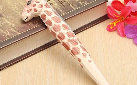 Dřevěné kuličkové pero ve tvaru zvířátka
