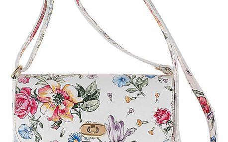 Bílá kožená kabelka s květinovým potiskem Pitti Bags Neva - doprava zdarma!