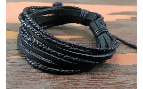 Stylový vrstvený pánský náramek z umělé kůže - černá - dodání do 2 dnů
