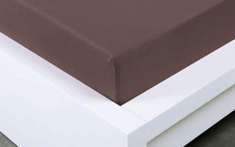 XPOSE ® Jersey prostěradlo jednolůžko - tmavě hnědá 90x200 cm