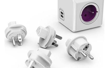 PowerCube REWIRABLE USB + Travel Plugs rozbočka 4 zásuvka, růžová + PowerCube Cable 1.5m, USB-C, bílý