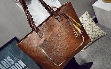 Dámská koženková kabelka se střapcem - mix barev - tmavě hnědá - dodání do 2 dnů