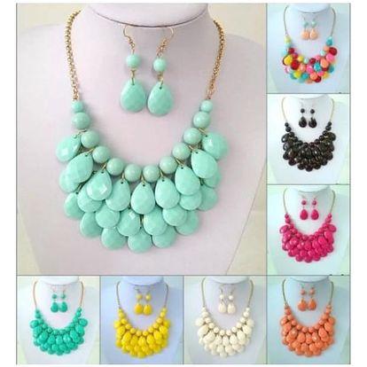 Dámský set náušnic a náhrdelníku v úžasných pastelových barvách!