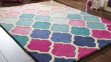 Modro-růžový vlněný koberec Flair Rugs Rosella, 160x230cm - doprava zdarma!