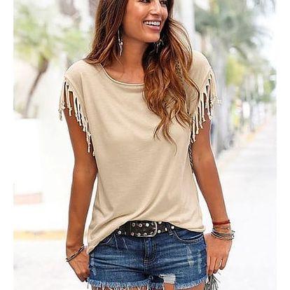 Ležérní dámské triko s třásněmi ve všech velikostech - mix barev
