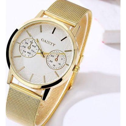 Minimalistické dámské hodinky ve zlaté a stříbrné barvě