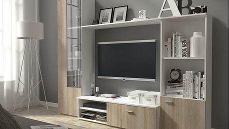 Hugo - Obývací stěna (bílá/dub sonoma)