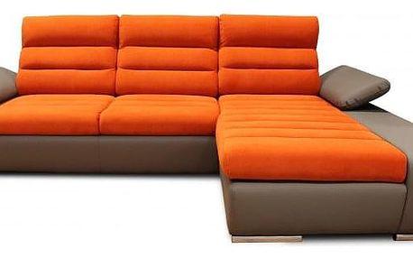 Rohová sedačka rozkládací Korfu pravý roh ÚP hnědá, oranžová
