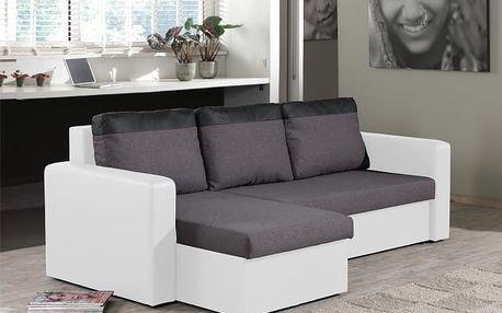 Rohová sedačka rozkládací Venus univerzální (md grey/pvc white)