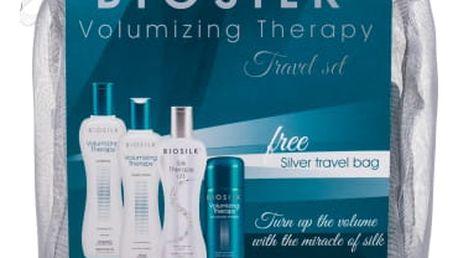 Farouk Systems Biosilk Volumizing Therapy dárková kazeta pro ženy šampon 67 ml + kondicionér 67 ml + sérum na vlasy Biosilk Silk Therapy Lite 67 ml + pudr do vlasů 15 g + kosmetická taška