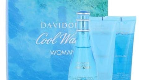 Davidoff Cool Water Woman dárková kazeta pro ženy toaletní voda 100 ml + tělové mléko 75 ml + sprchový gel 75 ml