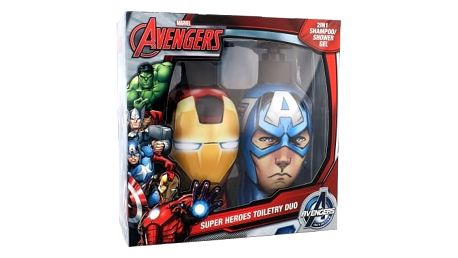 Marvel Avengers Iron Man & Captain America dárková kazeta šampon & sprchový gel 2v1 Iron Man 300 ml + šampon & sprchový gel 2v1 Captain America 300 ml