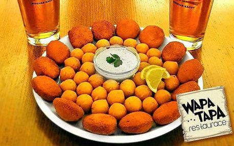 Kuřecí nugetky s bramborovými kroketami a pivem pro 2 v pražské restauraci WAPA TAPA