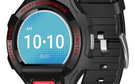 Chytré hodinky ALCATEL GO WATCH SM03, Black/Dark Red (SM03-2BALXE7)