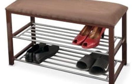 TEMPO KONDELA Langella čokoládová + tmavohnědá + šedá lavice s botníkem