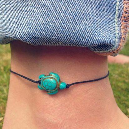 Náramek na nohu s tyrkysovou želvičkou