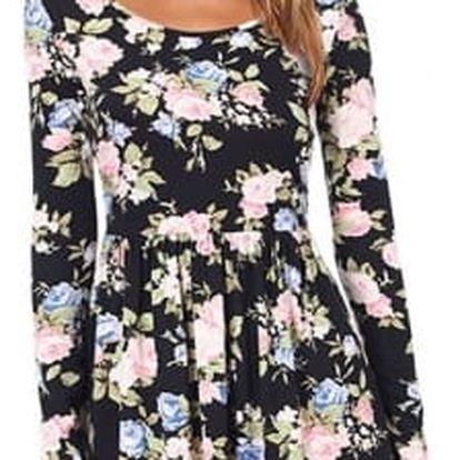 Květinové šaty s dlouhým rukávem - 2 barvy