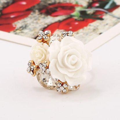 Dámský prsten s květinou - 7 barev