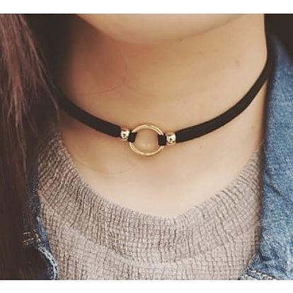 Černý choker náhrdelník s kovovým kroužkem - 2 barvy