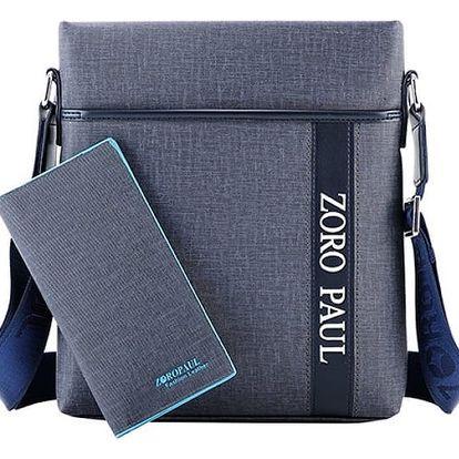 Koženkový set tašky přes rameno a peněženky pro pány