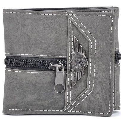Pánská peněženka s ozdobným zipem - šedá barva - dodání do 2 dnů