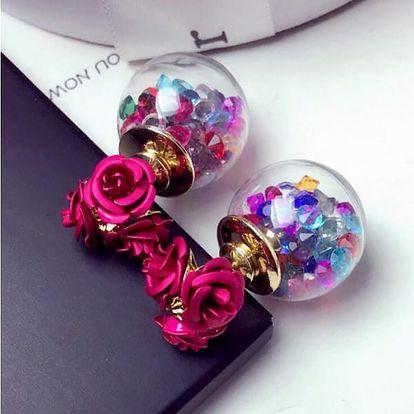 Oboustranné skleněné náušnice s kamínky a růžemi - více barev