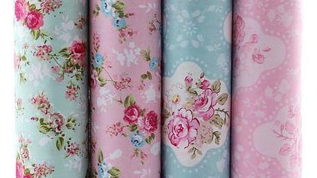 Látka na patchwork - květinový motiv 5 ks