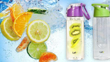 Lahve na vodu s vnitřním košíkem na ovoce