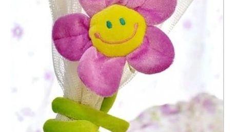 Pár barevných plyšových květin na záclony - 4 barvy